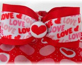Dog Collar For the Love of Hearts w Love Ribbon BOW TIE Heart Circles Dots Adjustable Dogs Collars D Ring Choose Size Accessory Accessories