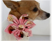 Dog Collar w Fabric Handmade Sewn Flower & Collar Set or Flower only Cupcake Birthday Party Celebration Pink CHOOSE SIZE Adjustable D Ring
