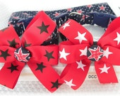 Dog Collar Patriotic Navy Blue Red Star mini White Stars w Bow Choose Size Adjustable Dog Collar D Ring 4th of July Veterans Day Collars Pet