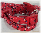 Dog Collar Red White Blue Stars Dots Stars and Stripes Forever Patriotic  Choose Size Adjustable Collars D Ring Accessories Accessory Pets