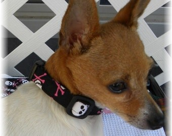 Dog Collar Scary Skull Pink Cross Bones Black Adjustable Dog Collar Collar D Ring Choose Size Halloween Pets Collars Dogs Accessory Pet Pets