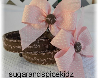 Dog Collar LIMITED Happy Valentine's Day Milk Chocolate  Brown Pink Dog Collar w Pink Dot Ribbon Bow Adjustable Dog Collar with D Ring