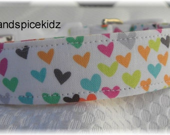 Dog Collar Limited Wwhite For the Love of Hearts  Dog Collar w/o Bow  Size EXTRA SMALL  Adjustable Dog Collar with D Ring