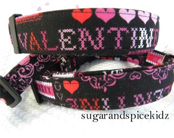 Dog Collar  READY to SHIP Happy Valentine's Day Size LARGE Adjustable Dog Collar D Ring