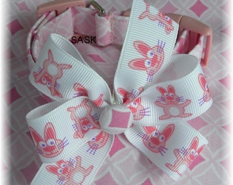 Dog Collar Limited Vintage Easter Hopping down the Bunny Trail w Bow Bow Adjustable Dog Collar with D Ring Choose Size
