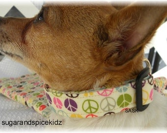 Dog Collar Peace Forever in Every Color no bow  Adjustable Dog Collar with D Ring Choose Size 1960's Love Pet Pets Wild Accessories Pets Pet