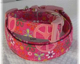 Dog Collar Pretty Pink Peace Signs w Flowers 1960 flower power Adjustable Dog Collar with D Ring Choose Size Accessory Accessories Pets Pets