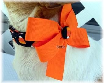 Dog Collar Candy Corn Halloween Orange Black w Bow Adjustable Dog Collar D Ring Fall Season Ghosts Gobblins Choose Size Accessory Pet Pets