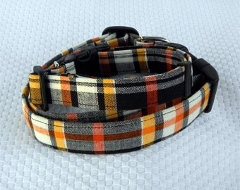 Dog Collar Plaid Black Orange White Yellow Classic Adjustable Collar D Ring.FUN Choos e Size Fall Winter Every Day Accessory Accessories