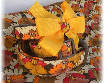 Dog Collar Crazy Turkey Fun Thanksgiving Fall Colors Gobble Gobble Bow Wow Fun Adjustable Dog Collar w Ribbon Bow and D Ring.FUN Choose Size