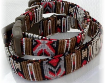 Dog Collar Southwest Indian Brown White Red Beads Adjustable Dog Collar with D Ring Choose Size