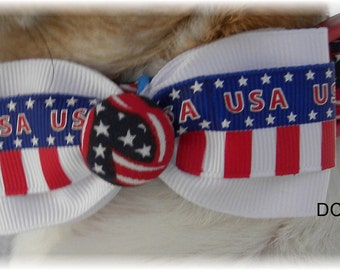 Dog Collar Patriotic Ribbons Blue Stars and Red White Blue w Ribbon Bow Tie Choose Size Adjustable Dog Collar with D Ring Accessories Pets