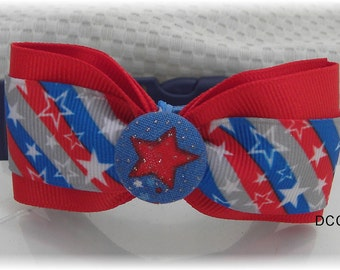 Dog Collar Patriotic Stripes Red White Blue Gray Stars w Ribbon Bow Tie Adjustable Collars D Ring Choose Size 4th of July Pet Pets Accessory