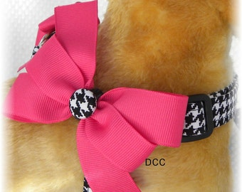 Dog Harness Houndstooth Choose Color and Size Custom Handmade STEP IN Harness Ergonomically Correct Adjusts from Opposite Ends Comfortable