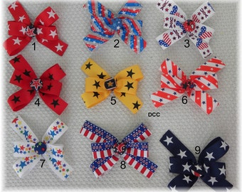 BOWS Ribbon Patriotic or ANY other bow add a bow 4 sizes to Choose Dog Collar  Step In Harness or Adjustable D Ring Dog Leash Dogs Hair