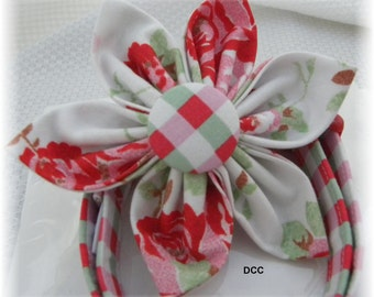Dog Collar w Fabric Flower SET Red Roses Flower Checkered Collars Adjustable Dog Collar w D Ring Choose Size or Choose Flower Only Pet Pets