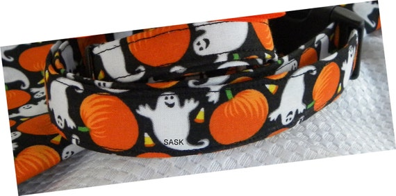 Dog Collar Ghosts Pumpkins BOO Halloween Orange Black SIZE SMALL Adjustable Dog Collar with D Ring