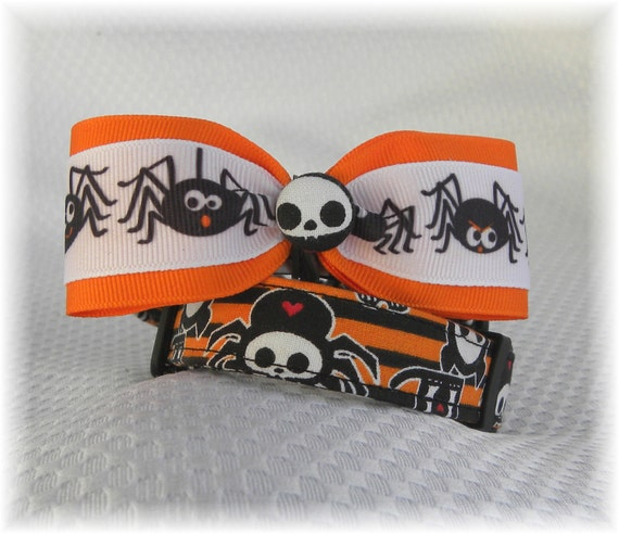 Dog Collar LIMITED Skelanimals Spider Diego Oliver Owl Timmy Kit Adjustable Dog Collar Ribbon Bow Tie D Ring CHOOSE SIZE Limited Fabric
