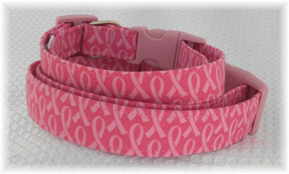 Dog Collar Breast Cancer Awareness Pink Ribbon SIZE SMALL Adjustable Dog Collar with D Ring