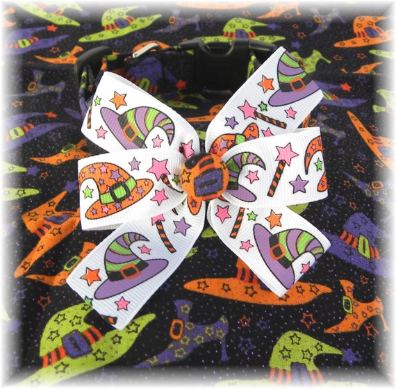 Dog Collar Halloween Witches Hats Shoes Wands Adjustable Purple Orange Green Witches Hats Wands Ribbon Bow D Ring.FUN Choose Size Accessory