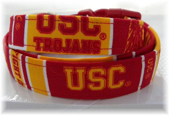 Dog Collar USC Trojans Red and Yellow Gold without Bow  SIZE  SMALL  Adjustable Dog Collar with D Ring Handmade