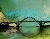 Theories of Flight  - Albatross  -  8 x 10 Oregon Coast Bridge - Encaustic and Photographic Etching - Limited Edition Print by My Antarctica