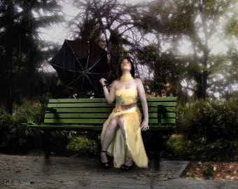 When It Rains -  8 x 10 Yellow Party Dress and Park Bench Limited Edition Print by My Antarctica