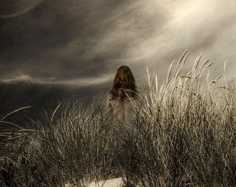 Follow - 8 x 10 Beach Grass and Dune Landscape with Female Figure - Storm Clouds - Limited Edition Fine Art Print