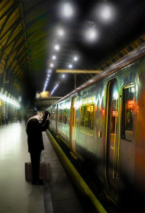 The Traveler I -  8 x 10 Limited Edition Fine Art Print - Solitary Traveler - London Train Station - Journeys - by My Antarctica