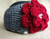 Cozy Crochet Head Wrap ear warmer with Jeweled Flower- grey accented with red