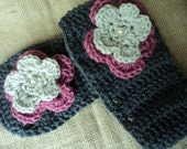 Mommy and Me Crochet Ear Warmers with Jeweled Flower-  deep grey, pink and oatmeal