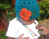 Crochet Cloche Hat with Chic Flower- beanie, flapper- teal, orange and green