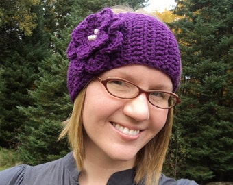 Crochet Head Wrap, Headband, Ear Warmer with Jeweled Flower- purple