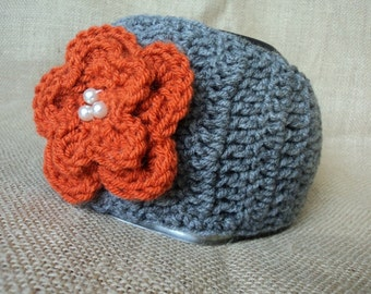 Crochet Ear Warmer, Head Wrap with Jeweled Flower- Heather Grey and Orange