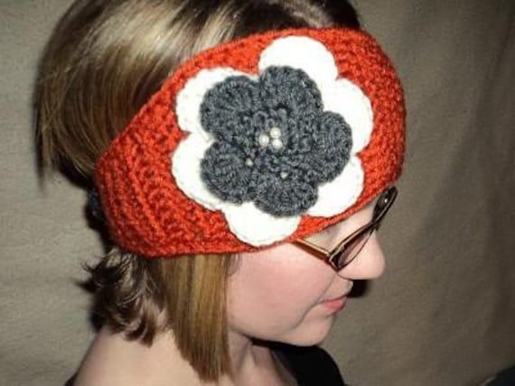 Ear Warmer with Jeweled Flower-Cheerleader ear warmer- orange, grey and ivory