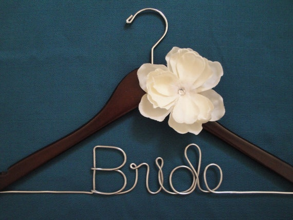 Bride hanger with reworked flower for Hangers for wedding dresses