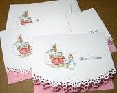 Easter Greeting Card Peter Rabbit Lace Curved Edge Set of 4 with pink liner - Unique Greetings by Susan K.
