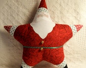 Christmas Pillow Star Shaped Santa Appliqued Red Swirl