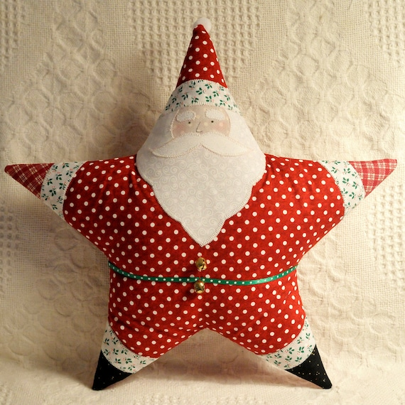 Christmas Pillow Star Shaped Santa Appliqued Deep Red