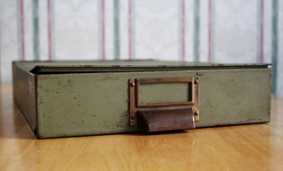 Vintage Industrial Lock Box Office Accessory For Documents