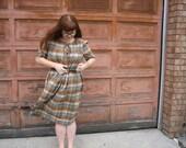 vintage plus size plaid cotton plaid dress