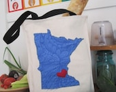 Canvas Tote, i heart MN- blue lagoon
