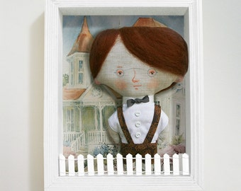 GIFT SET, Little Johnny art doll, doll house, art print, by DreamsKingdom