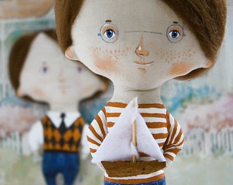 Little Jack Sailor Unique Art doll by DreamsKingdom Handmade& HandPainted