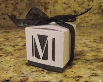 """2 1/4"""" Square Inch Laser Cut Custom Design Favor Box (Customize your favor box with a Monogram)"""