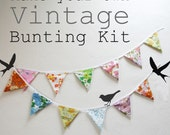 Make your own 'Vintage Bunting' Kit. Banner, Garland, Flags