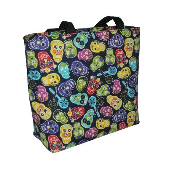 SALE. Day of The Dead Sugar Skulls Bucket Style Handbag (Ready to Ship)