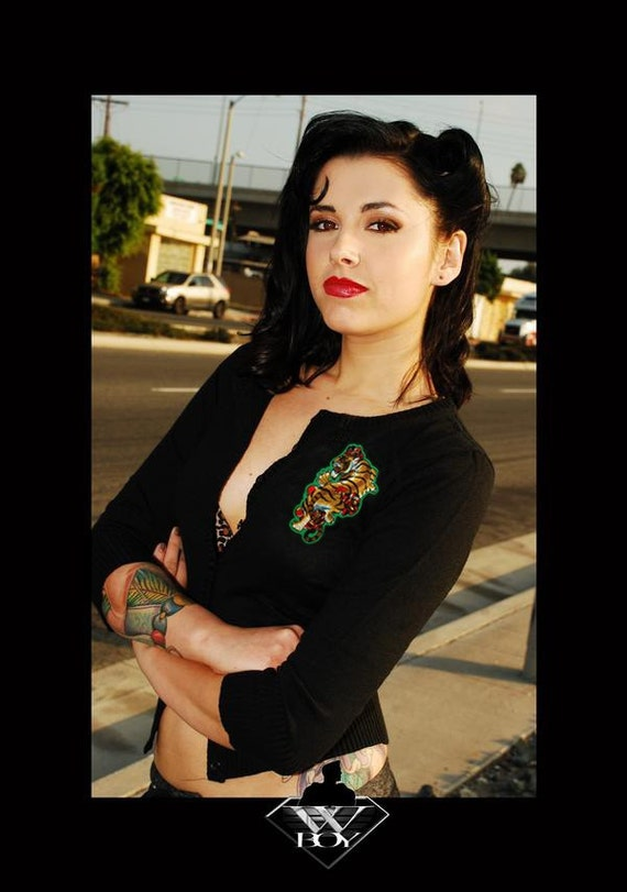 SALE. Rockabilly Tiger Tattoo Cardigan (Size Large)