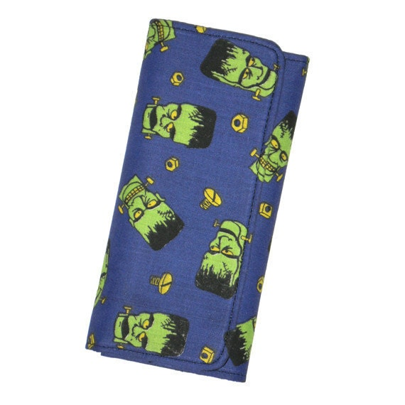 SALE Halloween Frankenstein Fabric Wallet, Ready to Ship