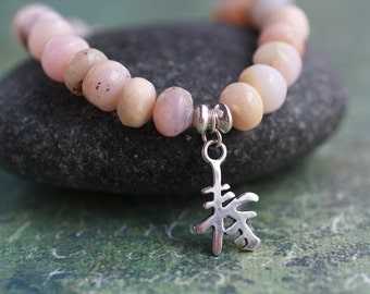Pink Stone Beaded Bracelet /  Stracking Friendship Bracelet /  Natural Pink Opal Feminine Zen Modern Jewelry Rustic Chinese Charm Dangle